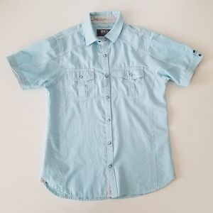Bke Blue Short Sleeve pearl snap shirt size Medium